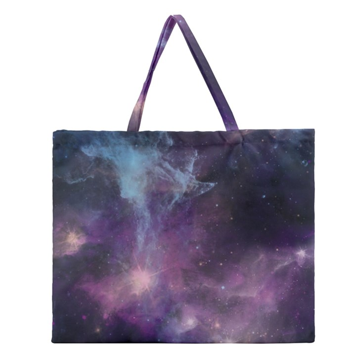 Blue Galaxy  Zipper Large Tote Bag