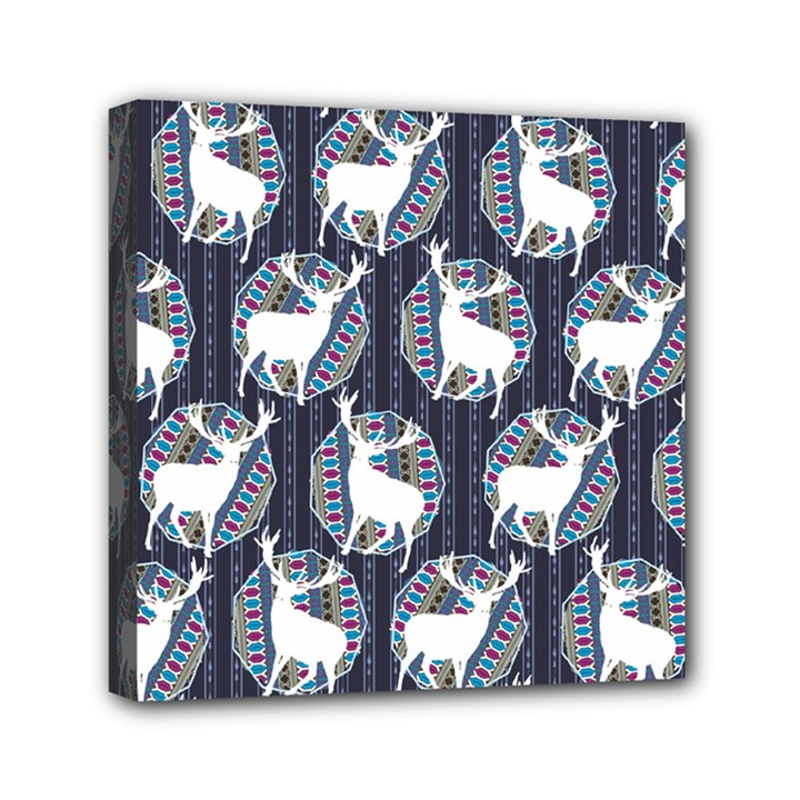 Geometric Deer Retro Pattern Mini Canvas 6  x 6