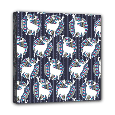 Geometric Deer Retro Pattern Mini Canvas 8  x 8
