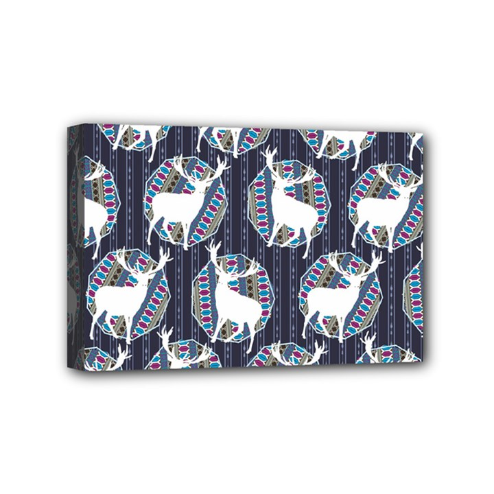 Geometric Deer Retro Pattern Mini Canvas 6  x 4