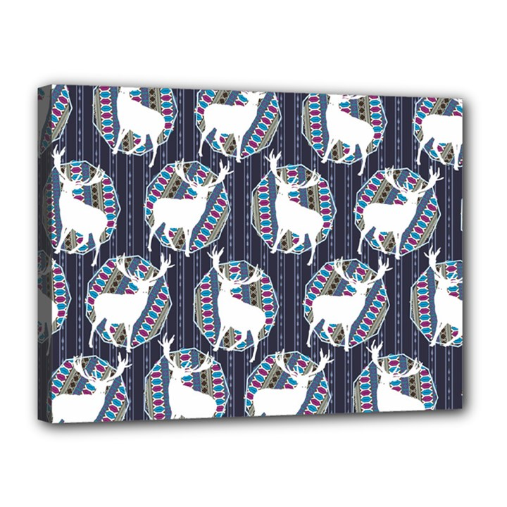 Geometric Deer Retro Pattern Canvas 16  x 12