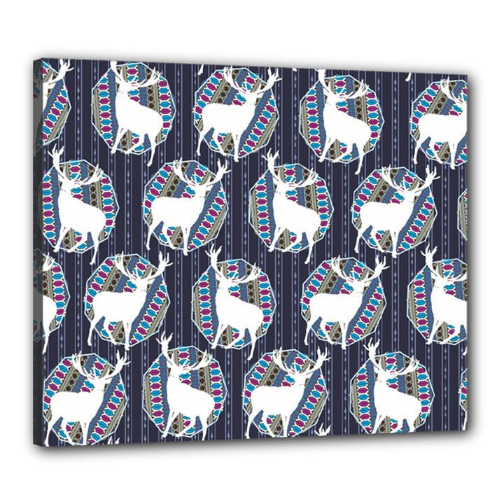 Geometric Deer Retro Pattern Canvas 24  x 20