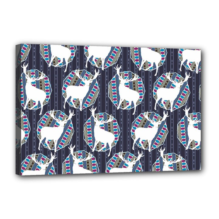 Geometric Deer Retro Pattern Canvas 18  x 12