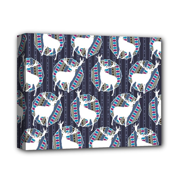 Geometric Deer Retro Pattern Deluxe Canvas 14  x 11