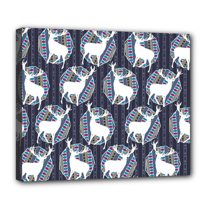 Geometric Deer Retro Pattern Deluxe Canvas 24  x 20