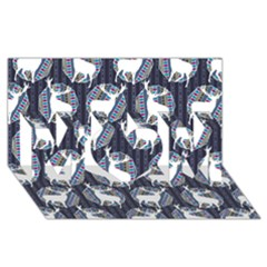 Geometric Deer Retro Pattern MOM 3D Greeting Card (8x4)