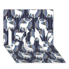 Geometric Deer Retro Pattern BOY 3D Greeting Card (7x5)