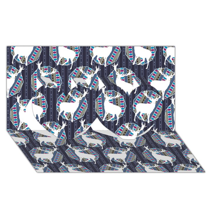 Geometric Deer Retro Pattern Twin Hearts 3D Greeting Card (8x4)