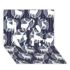 Geometric Deer Retro Pattern Love 3d Greeting Card (7x5)