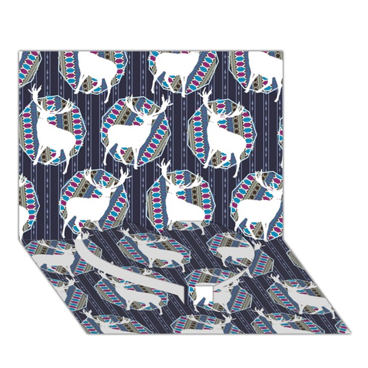 Geometric Deer Retro Pattern Heart Bottom 3D Greeting Card (7x5)