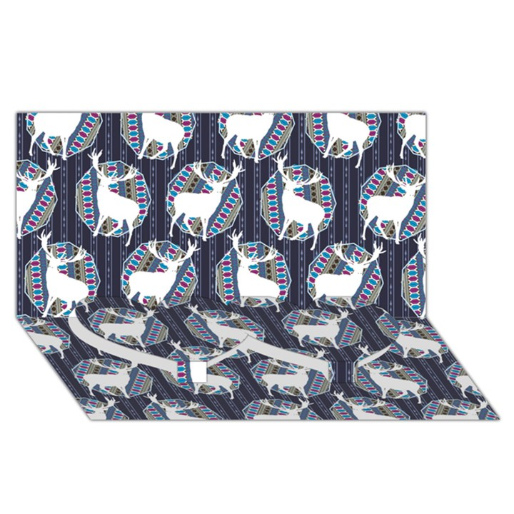 Geometric Deer Retro Pattern Twin Heart Bottom 3D Greeting Card (8x4)
