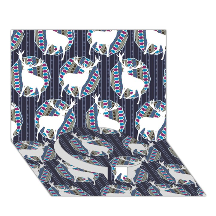 Geometric Deer Retro Pattern Circle Bottom 3D Greeting Card (7x5)
