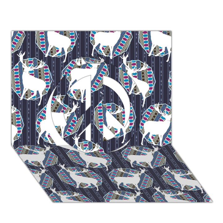 Geometric Deer Retro Pattern Peace Sign 3D Greeting Card (7x5)