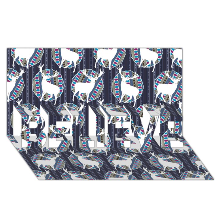 Geometric Deer Retro Pattern BELIEVE 3D Greeting Card (8x4)