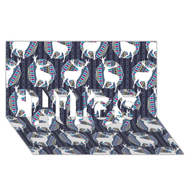 Geometric Deer Retro Pattern HUGS 3D Greeting Card (8x4)