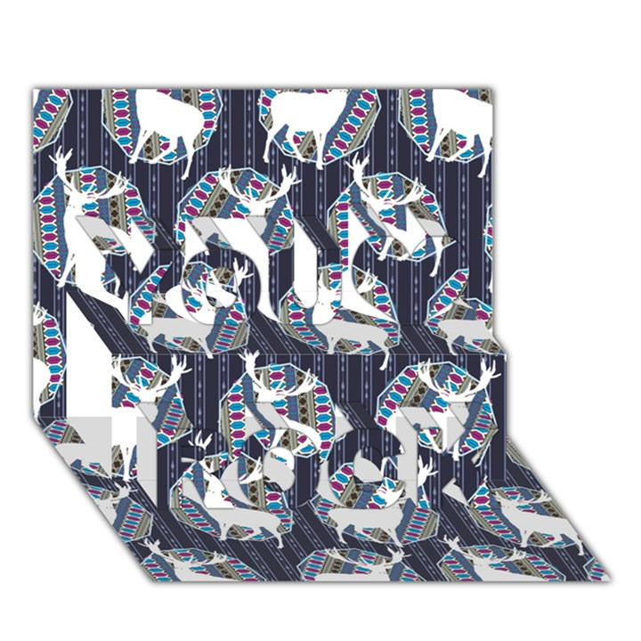 Geometric Deer Retro Pattern You Rock 3D Greeting Card (7x5)