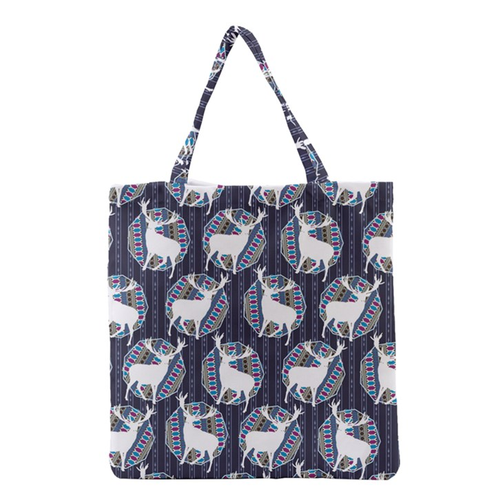 Geometric Deer Retro Pattern Grocery Tote Bag