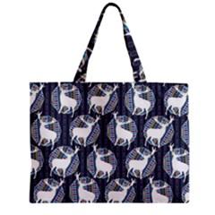 Geometric Deer Retro Pattern Zipper Mini Tote Bag