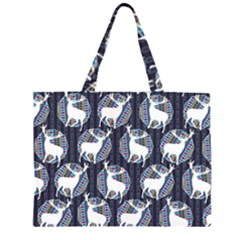 Geometric Deer Retro Pattern Large Tote Bag