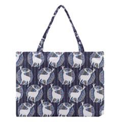 Geometric Deer Retro Pattern Medium Tote Bag