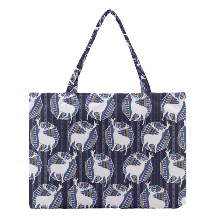Geometric Deer Retro Pattern Medium Tote Bag