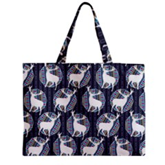 Geometric Deer Retro Pattern Medium Zipper Tote Bag