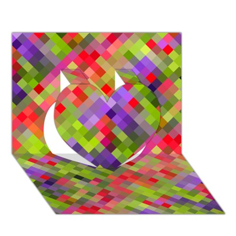 Colorful Mosaic Heart 3D Greeting Card (7x5)
