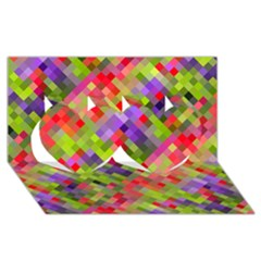 Colorful Mosaic Twin Hearts 3D Greeting Card (8x4)