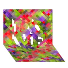 Colorful Mosaic Love 3d Greeting Card (7x5)
