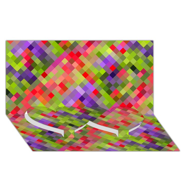 Colorful Mosaic Twin Heart Bottom 3D Greeting Card (8x4)