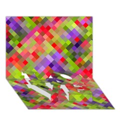 Colorful Mosaic LOVE Bottom 3D Greeting Card (7x5)