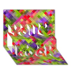 Colorful Mosaic You Rock 3D Greeting Card (7x5)