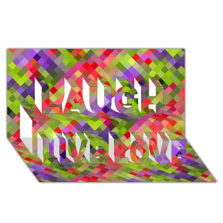 Colorful Mosaic Laugh Live Love 3D Greeting Card (8x4)