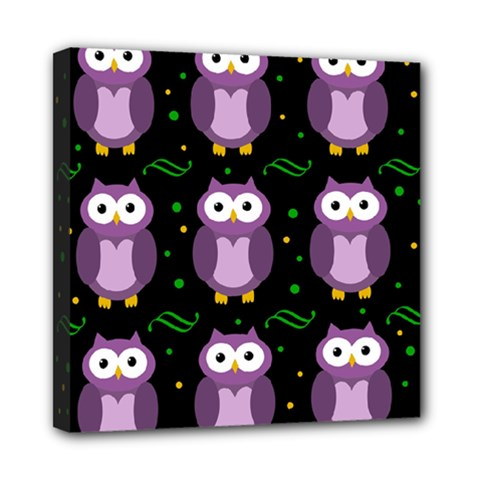 Halloween purple owls pattern Mini Canvas 8  x 8
