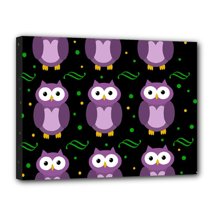 Halloween purple owls pattern Canvas 16  x 12