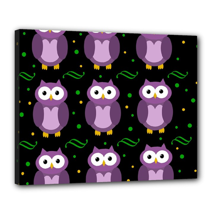 Halloween purple owls pattern Canvas 20  x 16
