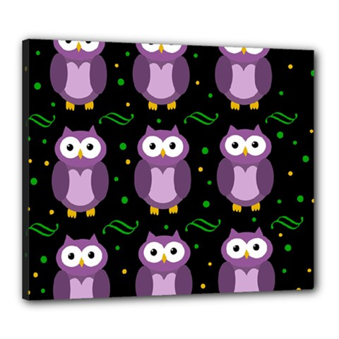 Halloween Purple Owls Pattern Canvas 24  X 20