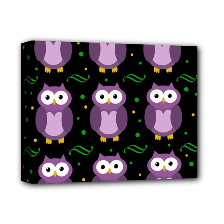 Halloween purple owls pattern Deluxe Canvas 14  x 11