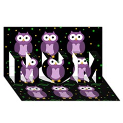 Halloween purple owls pattern MOM 3D Greeting Card (8x4)