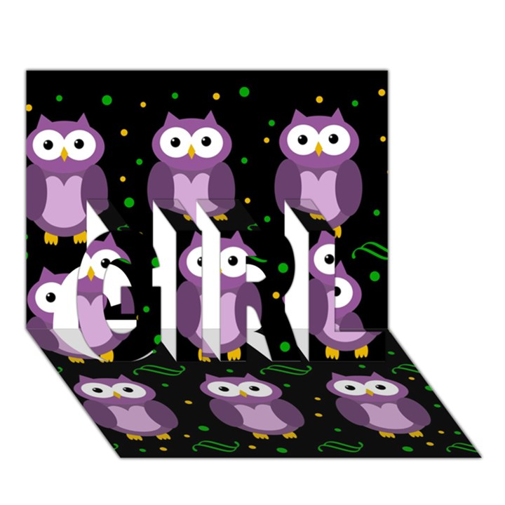 Halloween purple owls pattern GIRL 3D Greeting Card (7x5)