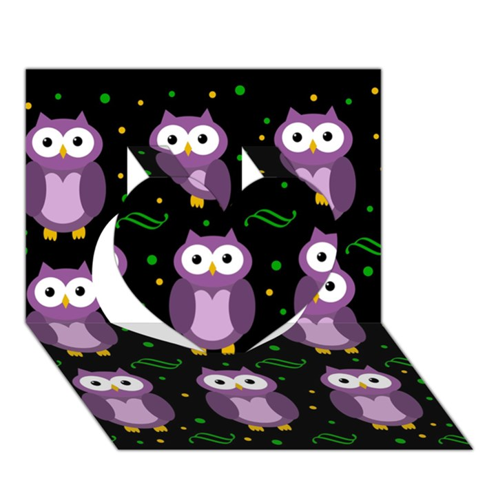 Halloween purple owls pattern Heart 3D Greeting Card (7x5)