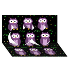 Halloween Purple Owls Pattern Twin Hearts 3d Greeting Card (8x4)
