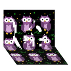 Halloween purple owls pattern LOVE 3D Greeting Card (7x5)