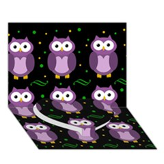 Halloween purple owls pattern Heart Bottom 3D Greeting Card (7x5)