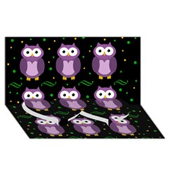 Halloween purple owls pattern Twin Heart Bottom 3D Greeting Card (8x4)