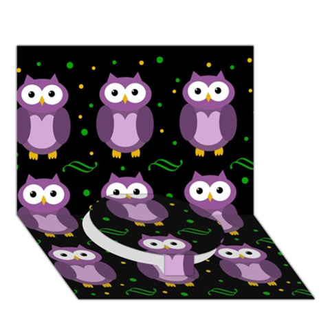 Halloween purple owls pattern Circle Bottom 3D Greeting Card (7x5)