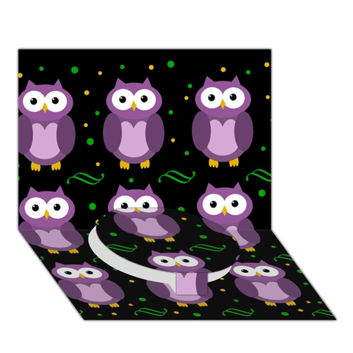 Halloween purple owls pattern Circle Bottom 3D Greeting Card (7x5)