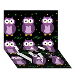 Halloween purple owls pattern LOVE Bottom 3D Greeting Card (7x5)