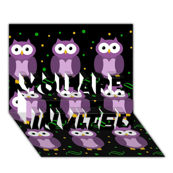 Halloween purple owls pattern YOU ARE INVITED 3D Greeting Card (7x5)
