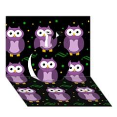 Halloween Purple Owls Pattern Apple 3d Greeting Card (7x5)